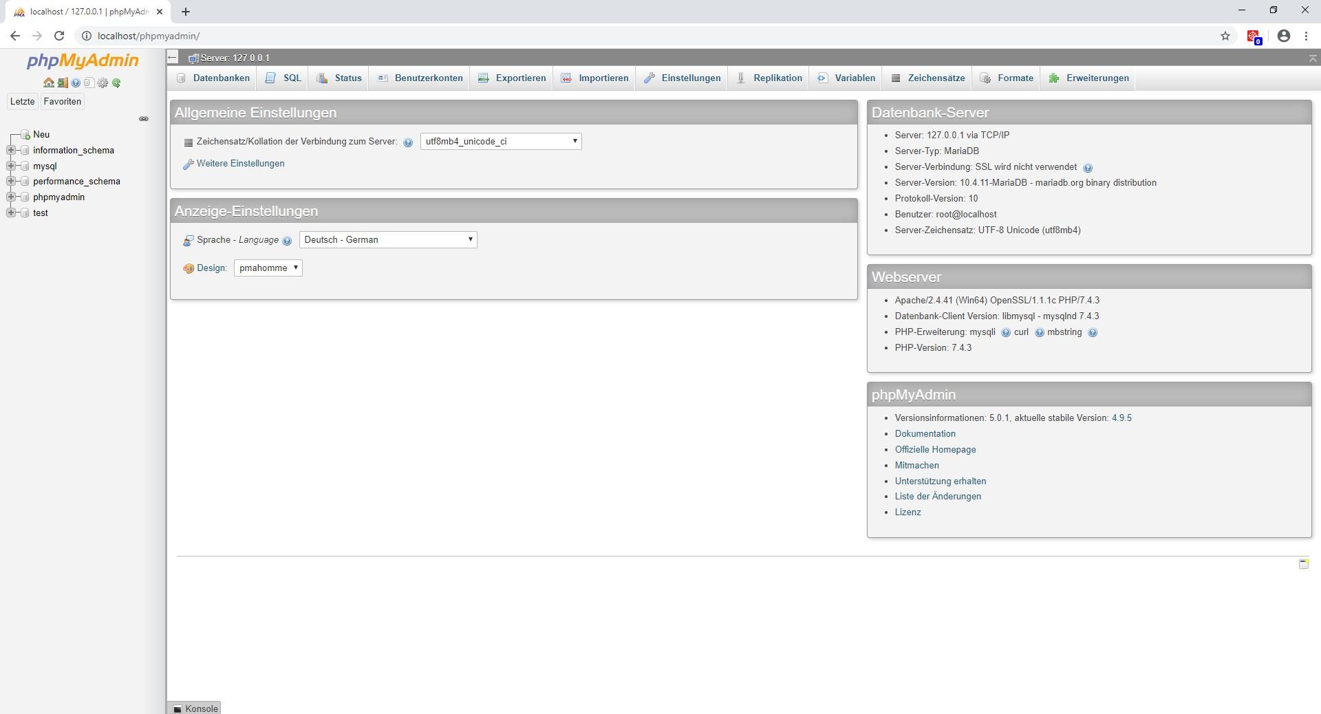 Localhost Datenbank anlegen